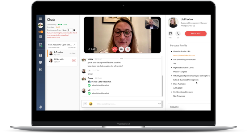 Virtual Hiring Event - One to one video chat