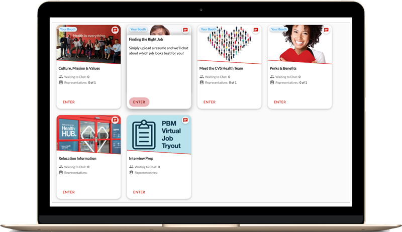 CVS Health virtual hiring event lobby with device